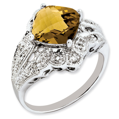 3.2 ct Sterling Silver Whiskey Quartz and Diamond Ring