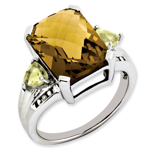 4.95 ct Sterling Silver Whiskey Quartz Lemon Quartz and Diamond Ring