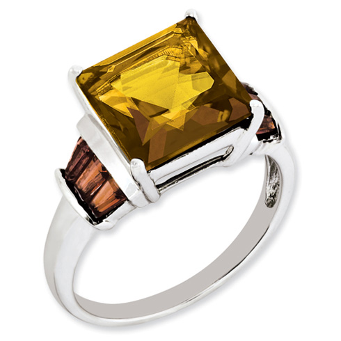 Sterling Silver 3.6 ct Square Whiskey Quartz and Garnet Ring