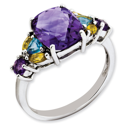 Sterling Silver 3 ct Amethyst Blue Topaz and Citrine Ring