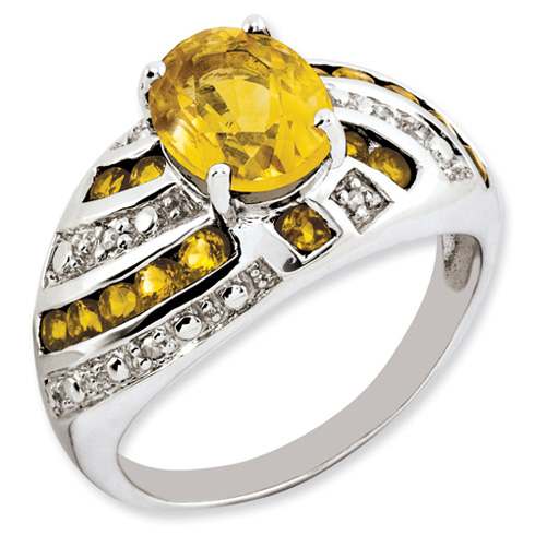 2.2 ct Sterling Silver Citrine and Diamond Ring