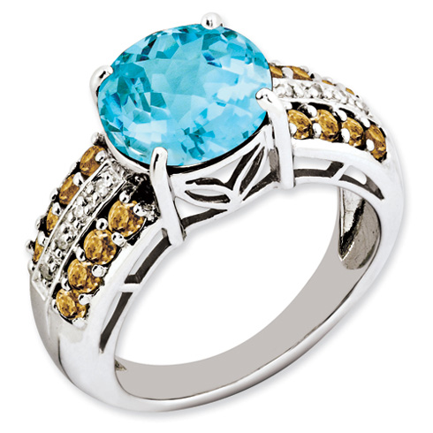 Sterling Silver 4.25 ct Blue Topaz Citrine and Diamond Ring