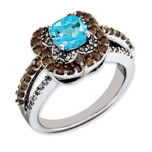 1.1 ct Sterling Silver Light Swiss Blue Topaz and Smokey Quartz and Diamond Ring