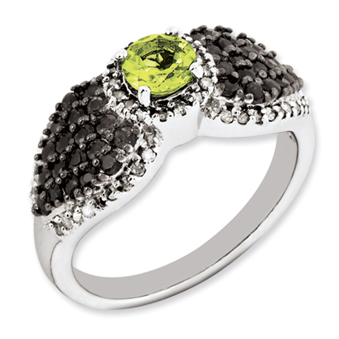 Sterling Silver 0.56 ct Peridot Ring with Smoky Quartz and Diamonds