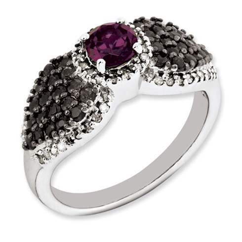 Sterling Silver 0.65 ct Rhodolite Garnet Smoky Quartz and Diamond Ring