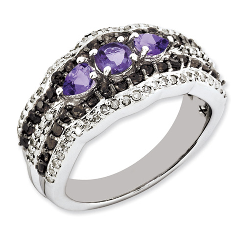 0.63 ct Sterling Silver Amethyst and Smokey Quartz and Diamond Ring