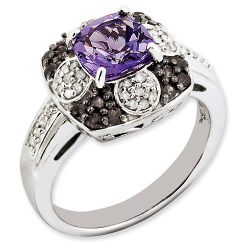 1.45 ct Sterling Silver Amethyst and Smokey Quartz and Diamond Ring