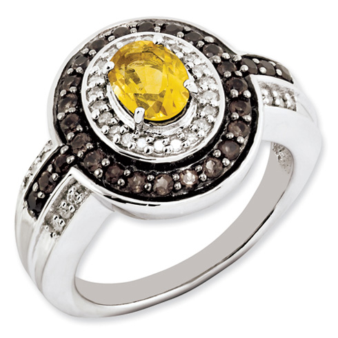 0.8 ct Sterling Silver Citrine and Smokey Quartz and Diamond Ring