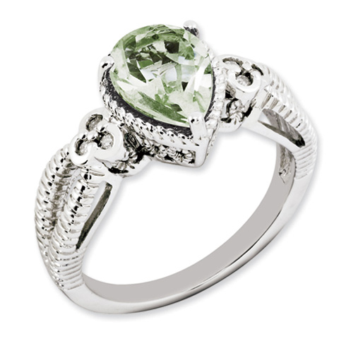 1.72 ct Sterling Silver Green Quartz and Diamond Ring