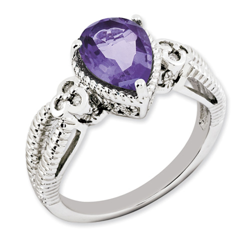 1.65 ct Sterling Silver Amethyst and Diamond Ring