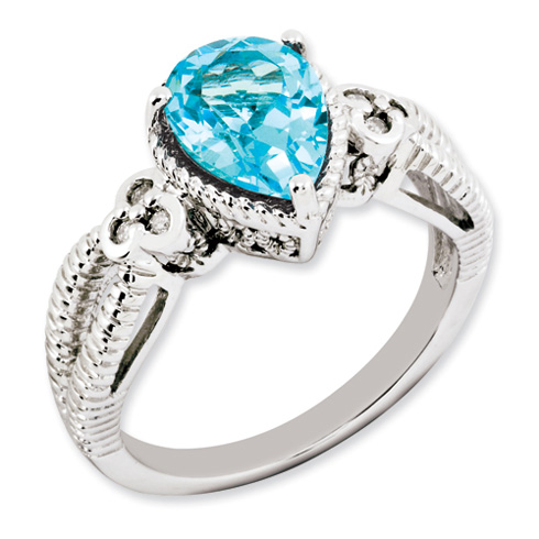 2.25 ct Sterling Silver Light Swiss Blue Topaz and Diamond Ring