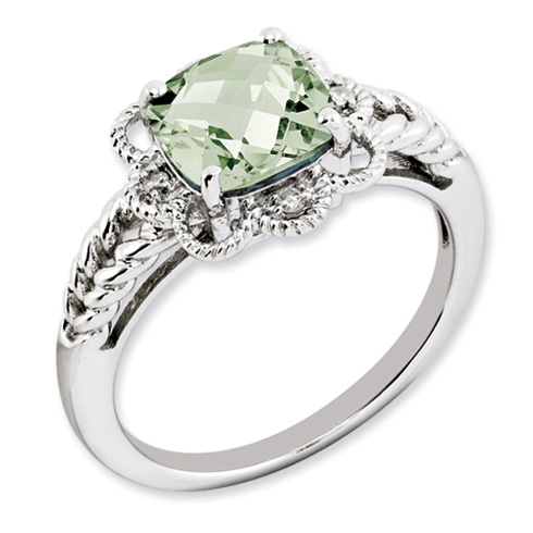 2.25 ct Sterling Silver Green Quartz and Diamond Ring