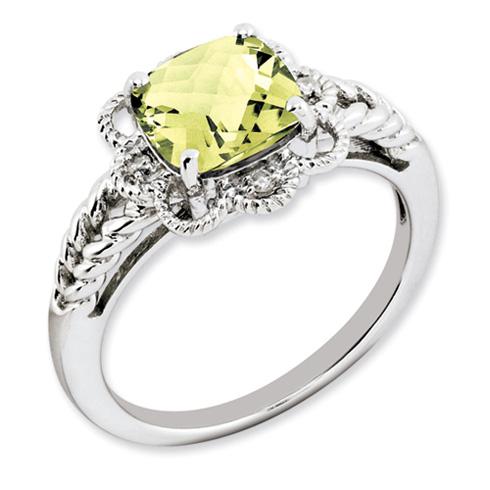 2.25 ct Sterling Silver Lemon Quartz and Diamond Ring