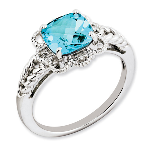 2.7 ct Sterling Silver Light Swiss Blue Topaz and Diamond Ring