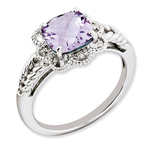 2.25 ct Sterling Silver Pink Quartz and Diamond Ring