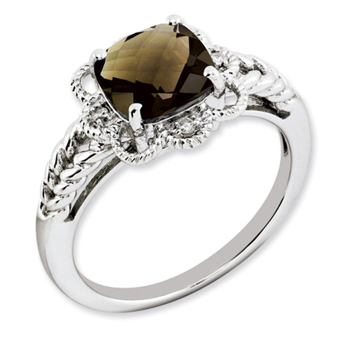2.25 ct Sterling Silver Smokey Quartz and Diamond Ring