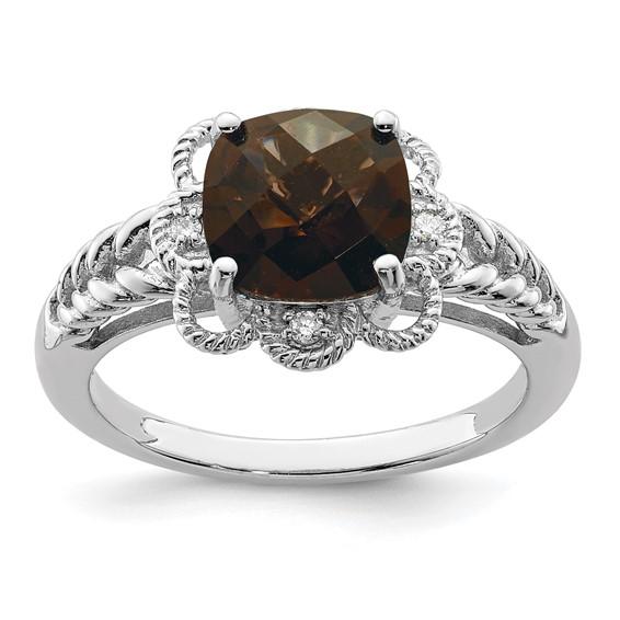 2.25 ct Sterling Silver Smokey Quartz and Diamond Ring