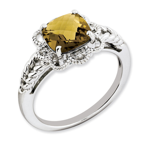 2.25 ct Sterling Silver Whiskey Quartz and Diamond Ring