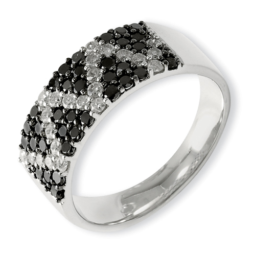 1.1 Ct Sterling Silver Black and White Diamond Ring