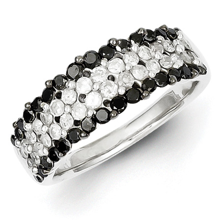 1.15 Ct Sterling Silver Black and White Diamond Ring