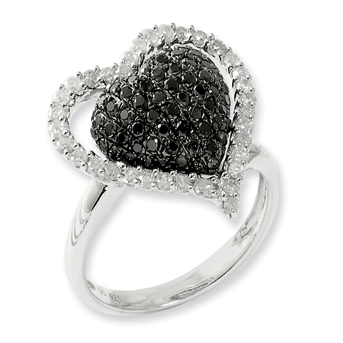 1.25 Ct Sterling Silver Black and White Diamond Ring