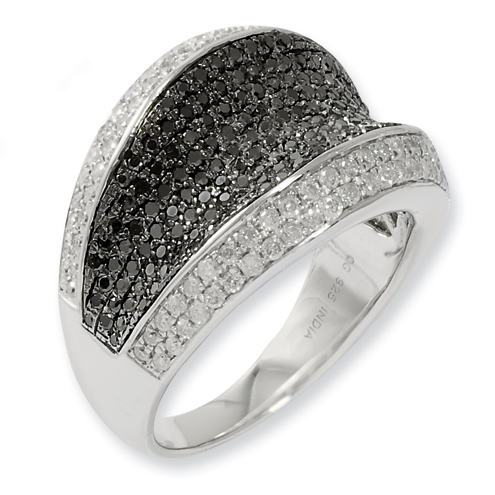 1.3 Ct Sterling Silver Black and White Diamond Ring
