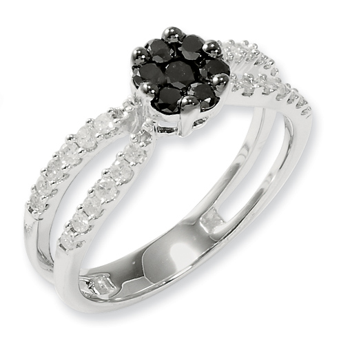0.6 Ct Sterling Silver Black and White Diamond Ring