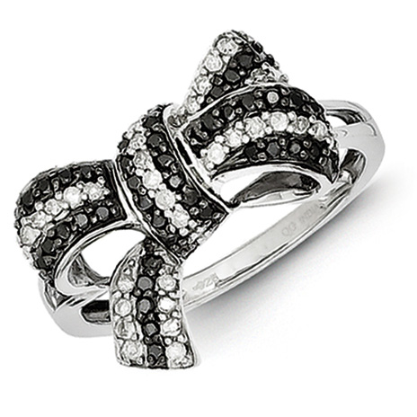 Sterling Silver 0.355 Ct Black and White Diamond Bow Ring