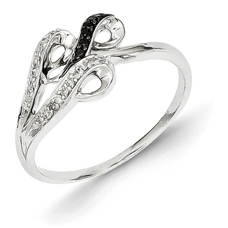 0.10 Ct Sterling Silver Black and White Diamond Ring