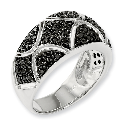 0.55 Ct Sterling Silver Black Diamond Ring