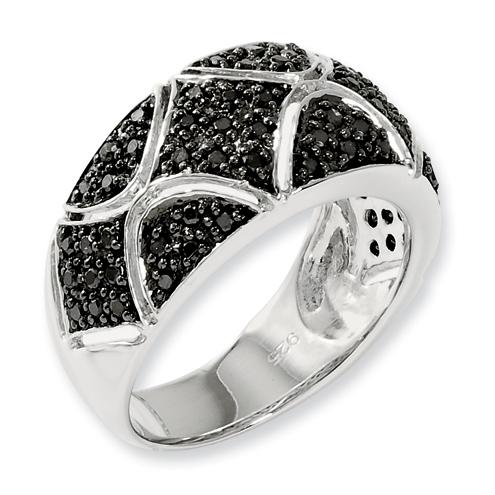 0.55 Ct Sterling Silver Black Diamond Ring