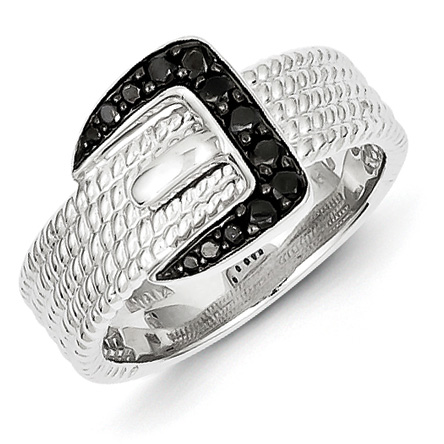 0.20 Ct Sterling Silver Black Diamond Buckle Ring