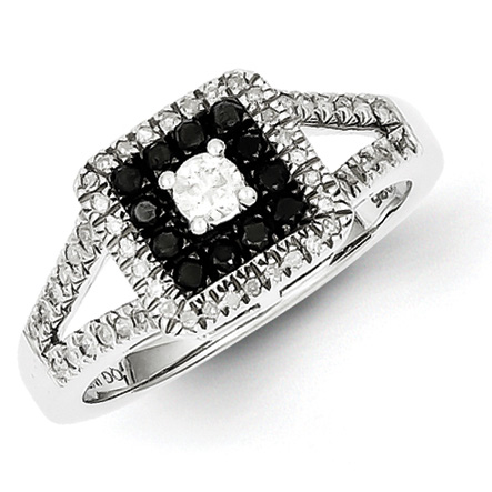 0.50 Ct Sterling Silver Black and White Diamond Ring