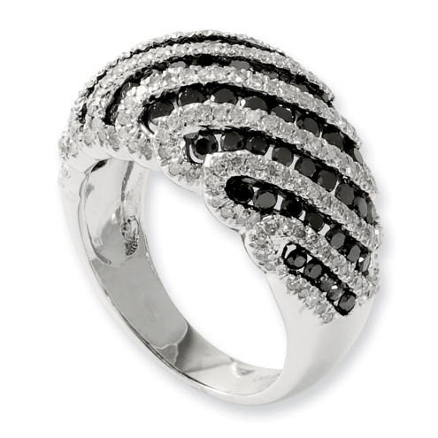 1.9 Ct Sterling Silver Black and White Diamond Ring