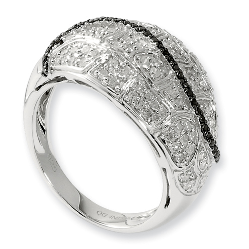 0.8 Ct Sterling Silver Black and White Diamond Ring