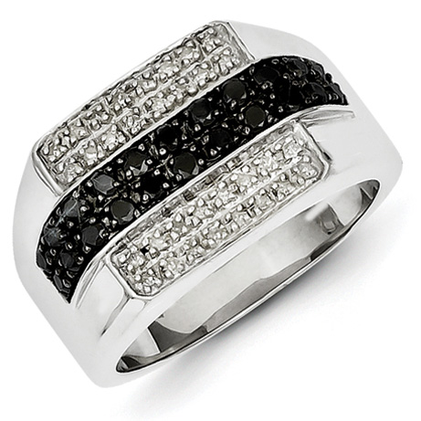 0.77 Ct Sterling Silver Black and White Diamond Mens Ring