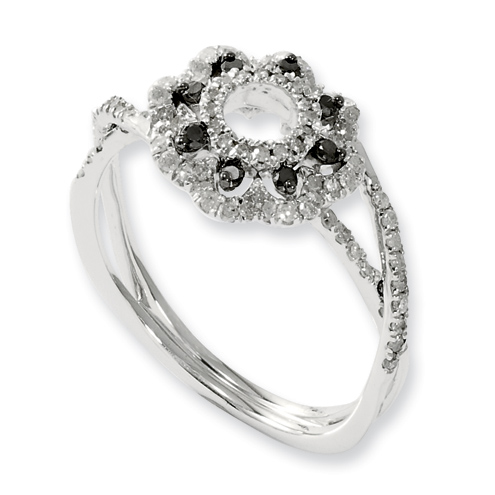 0.49 Ct Sterling Silver Black and White Diamond Flower Ring