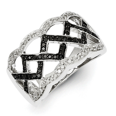 0.39 Ct Sterling Silver Black and White Diamond Ring