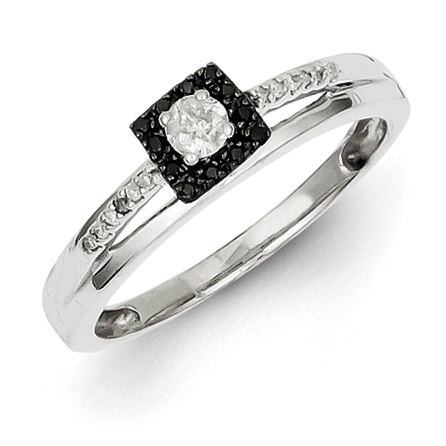 0.2 Ct Sterling Silver Black and White Diamond Square Ring