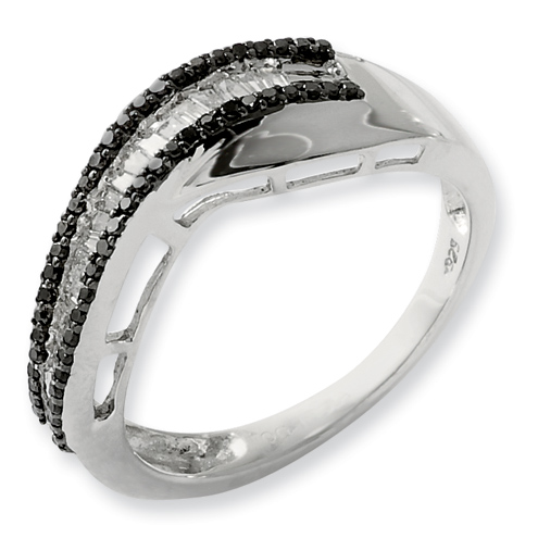 0.34 Ct Sterling Silver Black and White Diamond Ring