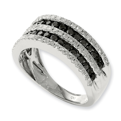 1.017 Ct Sterling Silver Black and White Diamond Ring