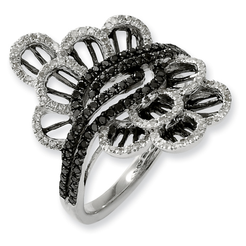 0.546 Ct Sterling Silver Black and White Diamond Ring