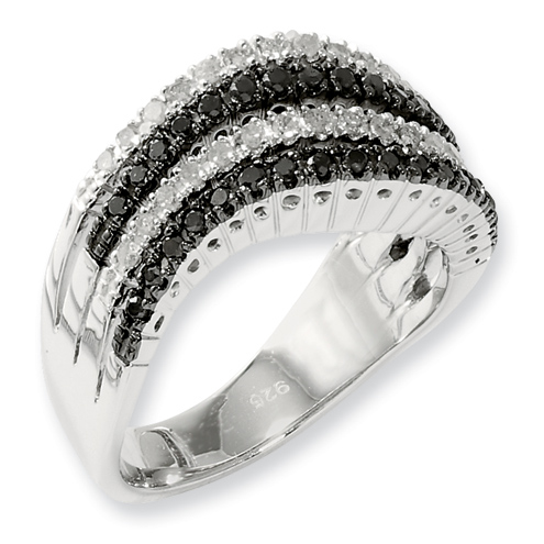 0.58 Ct Sterling Silver Black and White Diamond Ring