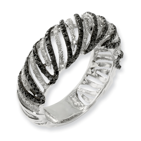 0.998 Ct Sterling Silver Black and White Diamond Ring