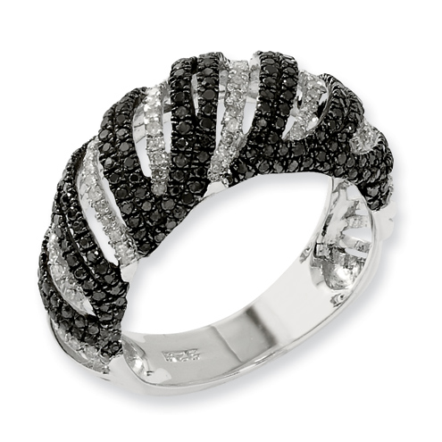 1.246 Ct Sterling Silver Black and White Diamond Ring