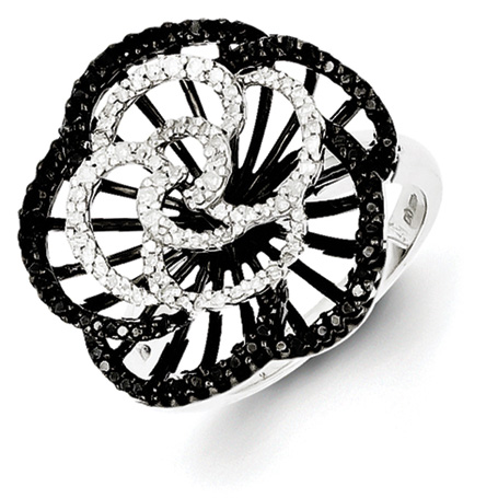 0.644 Ct Sterling Silver Black and White Diamond Ring
