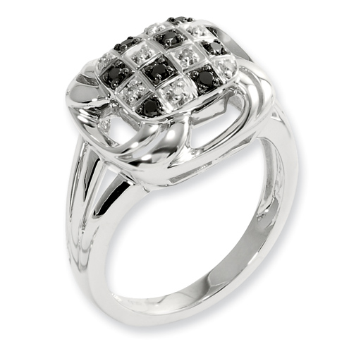 0.175 Ct Sterling Silver Black and White Diamond Square Ring