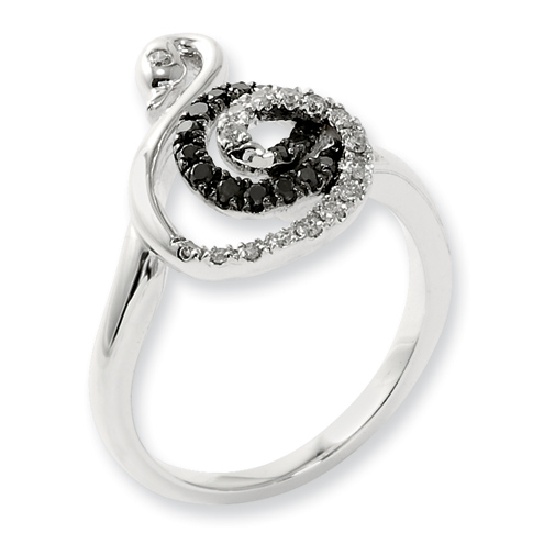 0.33 Ct Sterling Silver Black and White Diamond Swan Ring
