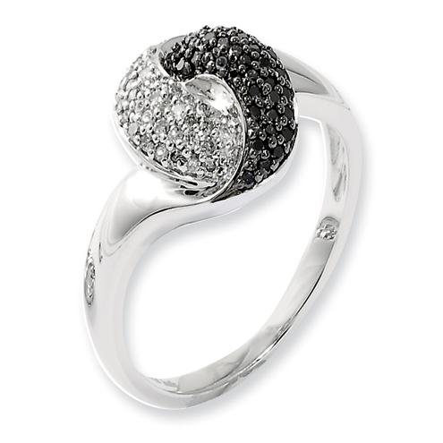 0.33 Ct Sterling Silver Black and White Diamond Ring