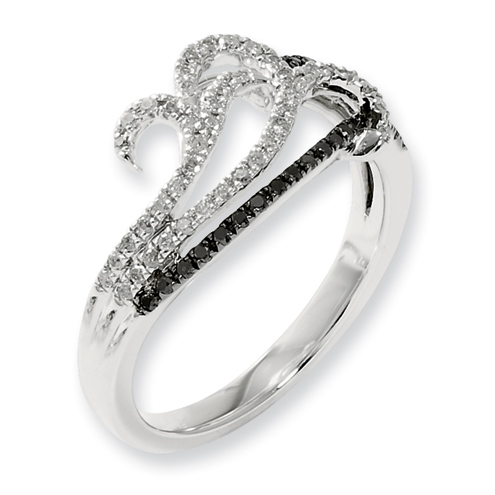 3/10 Ct Sterling Silver Black and White Diamond Ring